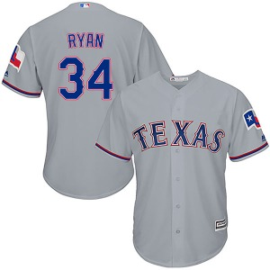 Youth Majestic Texas Rangers Nolan Ryan Gray Cool Base Road Jersey - Authentic
